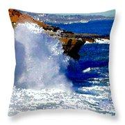 Waves Crashing On The Rocks Throw Pillow
