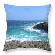 Waves Crashing On To The Lava Rock At Daimari Beach Throw Pillow