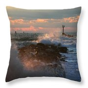 Waves Crashing Over The Jetty Throw Pillow