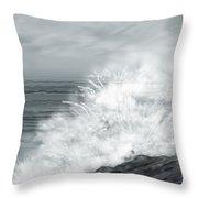 Waves Crashing The Rocks In Ireland Throw Pillow