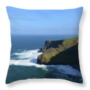 Waves From Galway Bay Crashing Against The Cliff's Of Moher Throw Pillow