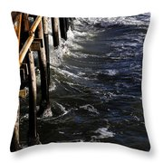 Waves Hitting Santa Monica Pier Throw Pillow