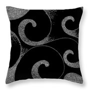 Waves Inverted In Black And White Throw Pillow