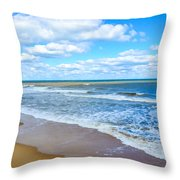 Waves Lapping On Beach 3 Throw Pillow