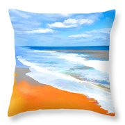 Waves Lapping On Beach 8 Throw Pillow