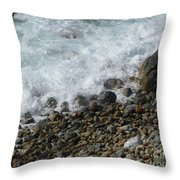 Waves Meet Pebbles Throw Pillow