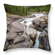 Waves Of ... Granite At Mistaya Canyon, Canada Throw Pillow