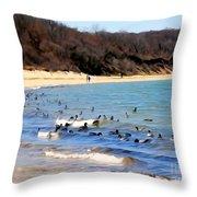 Waves Of Ducks Throw Pillow