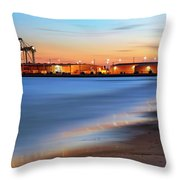 Waves Of Industry - Gulfport Mississippi - Sunset Throw Pillow