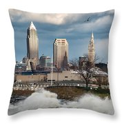 Waves On Cleveland Throw Pillow
