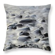 Waves On Cobble-panoramic Throw Pillow