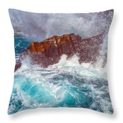 Waves On Lava Rocks Throw Pillow