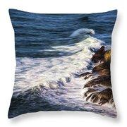 Waves Rocks And Birds Throw Pillow
