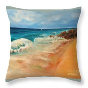 Waves, Rocks, Yachts Throw Pillow