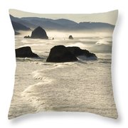 Waves Roll Ashore On The Oregon Coast Throw Pillow