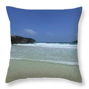 Waves Rolling Ashore On The Beach Of Boca Keto Throw Pillow