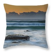 Waves Rolling In At Sunrise Throw Pillow