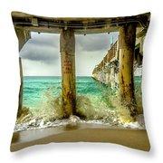 Waves Smash Into The Pier Throw Pillow
