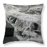 Waves Splashing Stones 2 Throw Pillow
