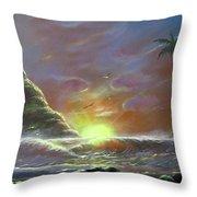 Waves Through The Sunset Throw Pillow