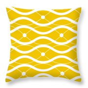 Waves With Border In Mustard Throw Pillow