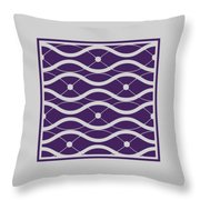 Waves With Border In Purple Throw Pillow