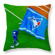 Waving The Flag For The Home Team      The Toronto Blue Jays Throw Pillow