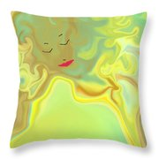 Wavy Hair And Red Lips Throw Pillow