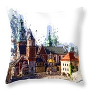 Wawel Castle Cracow Throw Pillow