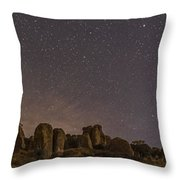 Waxing Moon Above The City Of Rocks Throw Pillow