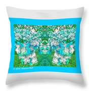Waxleaf Privet Blooms In Aqua Hue Abstract With Aqua Frame Throw Pillow