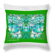 Waxleaf Privet Blooms In Aqua Hue Abstract With Green Frame Throw Pillow