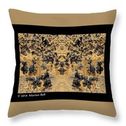 Waxleaf Privet Blooms In Black And White - Color Invert With Golden Tones Abstract Throw Pillow