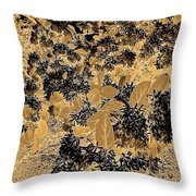 Waxleaf Privet Blooms On A Sunny Day In Black And White - Color Invert With Golden Tones Throw Pillow