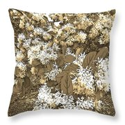 Waxleaf Privet Blooms On A Sunny Day In Sepia Tones Throw Pillow