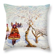 Way From The Church, Jozef Theodor Mousson, 1931 Throw Pillow