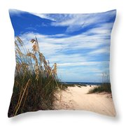 Way Out To The Beach Throw Pillow