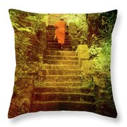 Way To Buddha's Temple Throw Pillow by Justyna Lorenc