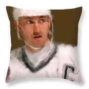 Wayne Gretzky Kings Portrait Throw Pillow