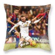 Wayne Rooney Shoots At Goal Throw Pillow