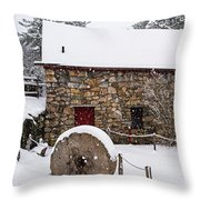 Wayside Inn Grist Mill Covered In Snow Millstone Throw Pillow