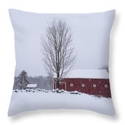 Wayside Inn Grist Mill Covered In Snow Storm 2 Throw Pillow