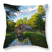 Wayside Inn Grist Mill Reflection Throw Pillow