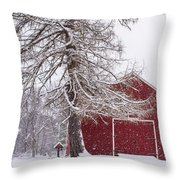 Wayside Inn Red Barn Covered In Snow Storm Reflection Throw Pillow