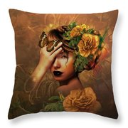Blooms A Fragile Yellow Rose Throw Pillow