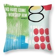 We Come To Worship- Contemporary Christmas Card By Linda Woods Throw Pillow