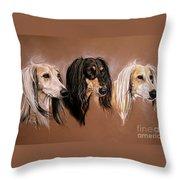 'we Three Salukis' Throw Pillow