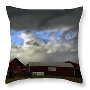 Weather Threatening The Farm Throw Pillow