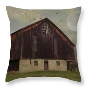 Weathered Barn And Birds Throw Pillow by Stephanie Calhoun
