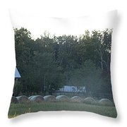 Weathered Barn And Hay Bales  Throw Pillow